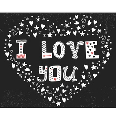 I love you romantic card with heart cute postcard vector