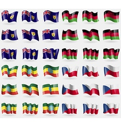 Turks and caicos malawi ethiopia set of 36 flags vector