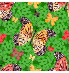 Seamless floral pattern with butterflie vector