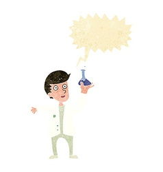 Cartoon happy scientist with speech bubble vector