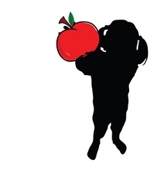 Girl with apple in hand silhouette vector