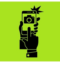Selfie phone photo in green vector image