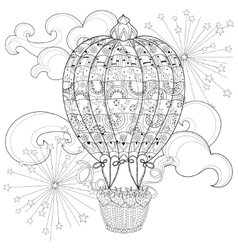 Hand drawn doodle outline air baloon in flight vector