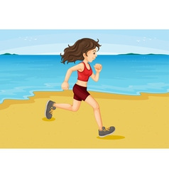 Girl running on the beach vector