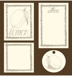 Lemon menu pages card and tag design set vector