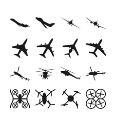 Aircrafts helicopters drones black icons vector