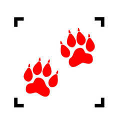 animal tracks sign red icon inside black vector image vector image