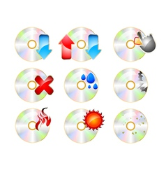 Cd rom icon set on a white background vector