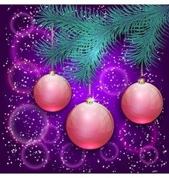christmas with blue tree branch and balls on bokeh vector image vector image