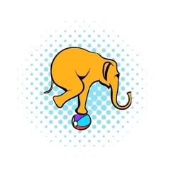 Circus elephant on the ball comics icon vector
