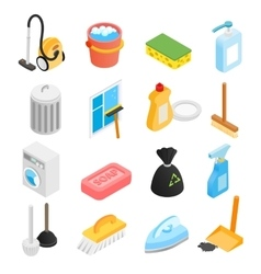 Cleaning isometric 3d icons vector