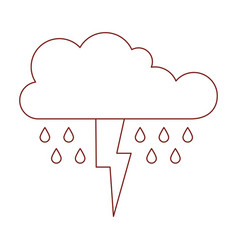 Cloud with rain and thunderbolt in dark red vector