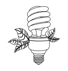 energy-saving light bulbs with leaves icon vector image