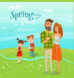 family and season spring vector image