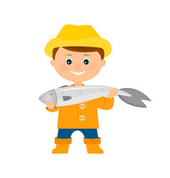fisherman with big fish vector image vector image
