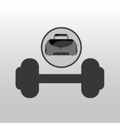 Fitness sport bag icon barbell vector