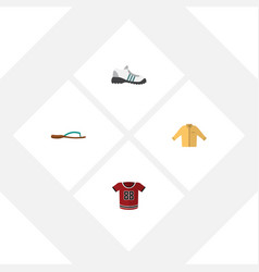 Flat icon clothes set of sneakers t-shirt banyan vector