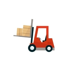 Forklift machine loading the boxes vector