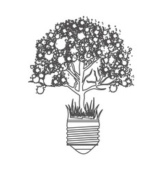 Grayscale contour with light bulb base with leafy vector