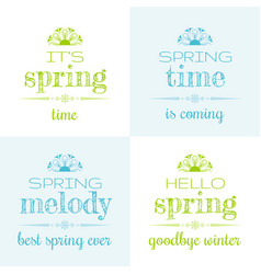 Hello spring text lettering vector
