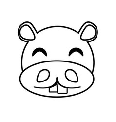 hippo face animal outline vector image