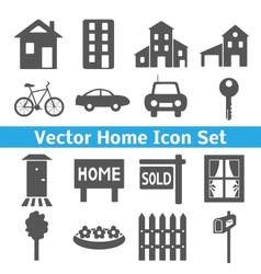 Home icons set Real estate vector image