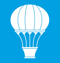 Hot air balloon with basket icon white vector