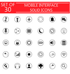 mobile interface solid icon set vector image