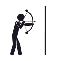 Monochrome silhouette with man archery vector