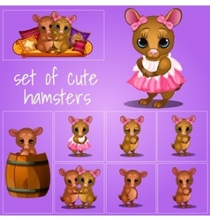 Set of adorable pups on a pink background vector