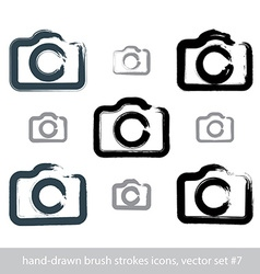 Set of realistic ink hand-drawn stroke digital vector image vector image