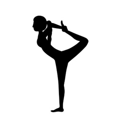 Silhouette yoga woman lord of the dance pose three vector