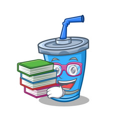 Student with book soda drink character cartoon vector