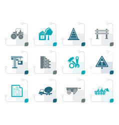 stylized construction and building icons vector image vector image