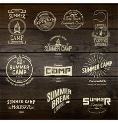 Summer camp badges logos and labels for any use vector image vector image