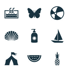 Summer icons set with ananas camp conch and vector