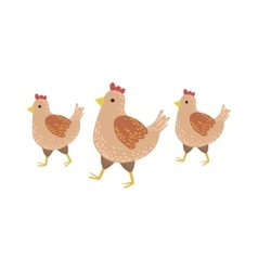 Three brown chickens wakling vector