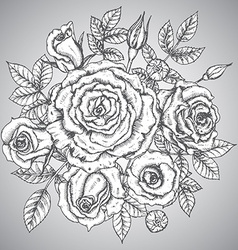 Vintage elegant bouquet with graphic flowers roses vector