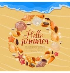 Summer sea shells poster vector