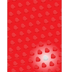 Red 3D hearts and one white on red background vector image