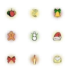 Xmas icons set pop-art style vector