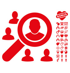find users icon with lovely bonus vector image