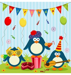Penguins celebrate birthday vector