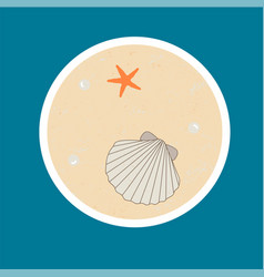 badge with sseashell starfish and pearls vector image