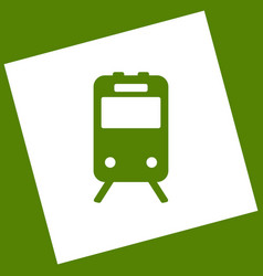 train sign  white icon obtained as a vector image