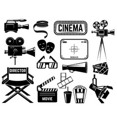 Set of cinema icons and design elements isolated vector