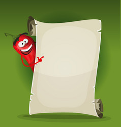 red hot chili pepper holding restaurant menu vector image