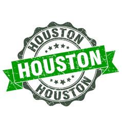 Houston round ribbon seal vector