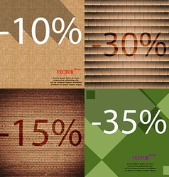 30 15 35 icon set of percent discount on abstract vector