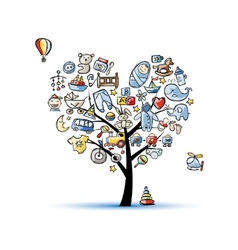 Heart shape tree with toys for baby boy vector image